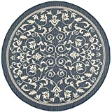 Cheap Safavieh Courtyard Collection CY2098-268- Navy and Beige Indoor/Outdoor Round Area Rug (6'7″ Diameter)
