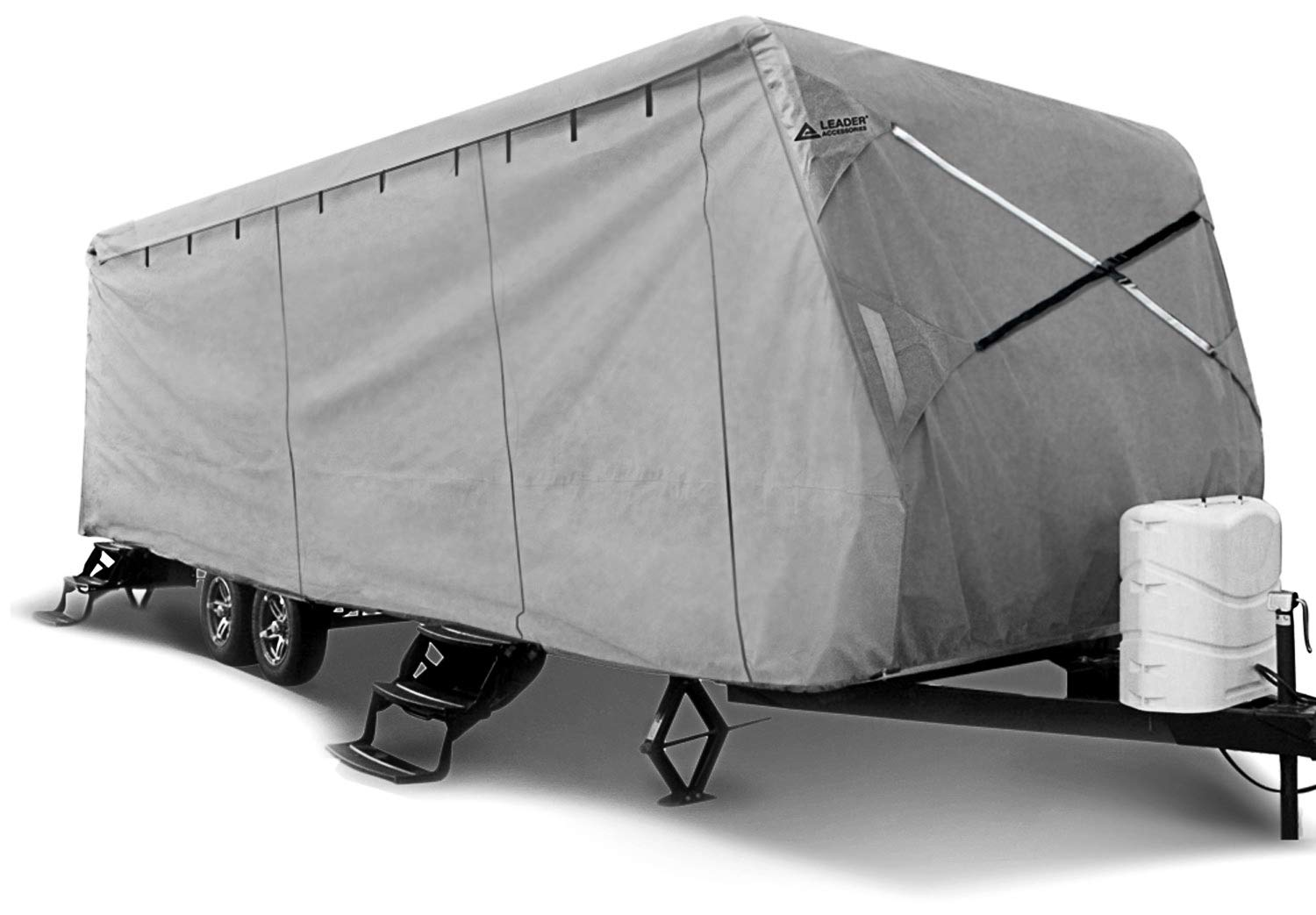 Leader Accessories Travel Trailer RV Cover Fits Camper 3 Layer Polypropylene Outdoor Protect (Fits 14'-16', Grey)