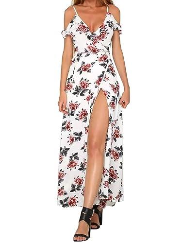 Simplee Apparel le estate decorativo split freddo spallina / collo maxi vestito bianco a fiori