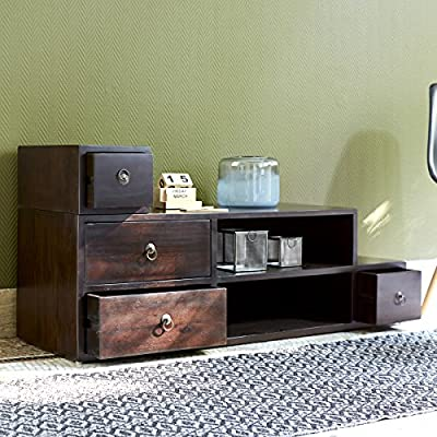Mesa de TV televisión con puerta corredera color caoba nuevo Tikamoon: Amazon.es: Hogar