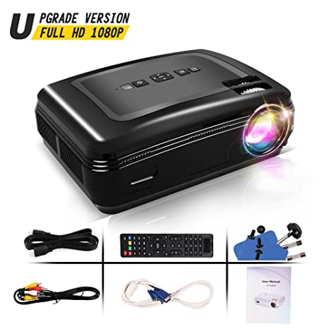 Proyector Full HD, Proyectores LCD de 3300 Lúmenes con altaveces Proyector Video Portátil Projector LCD Home Cinema Apoyo 1080 HDMI VGA USB para PC ...