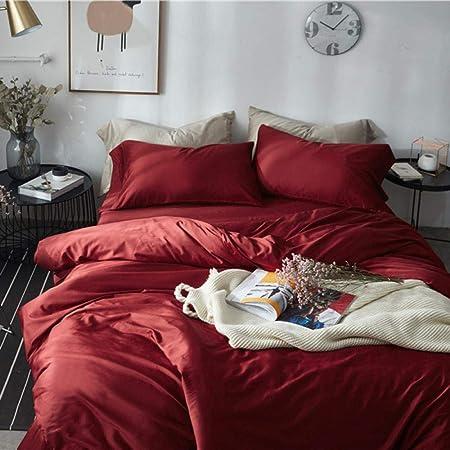 zlzty Funda de edredón de algodón 80 Juegos de sábanas de satén, Cuatro Juegos, sábanas de algodón Cepillado, sábanas Ajustables de algodón Cepillado tamaño King @ Bordeaux Red_1.8 m Cama 4 Piezas: