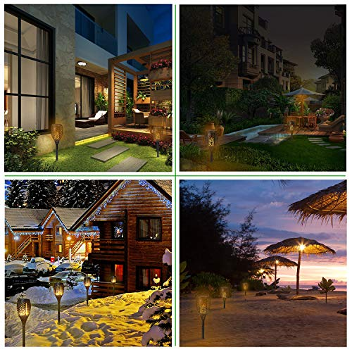 Xtozon Solar Torch Lights Upgraded, Dancing Flames Torch Solar Lamp, 96 LED Flame Effect Saving Lamp, Waterproof Outdoor Pathway Decoration Solar Security Light Auto On/Off from Dusk to Dawn - 4 pack by Xtozon (Image #7)