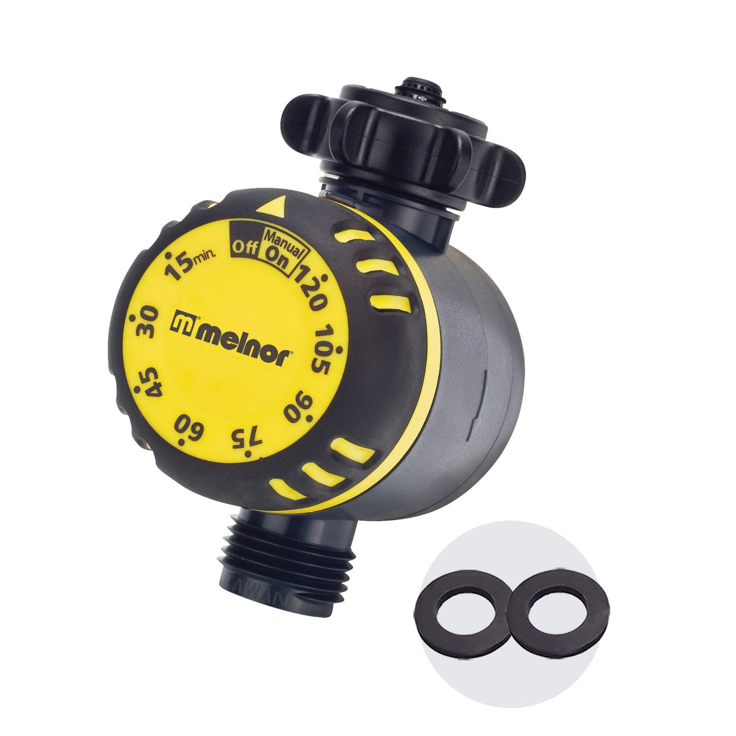 Melnor 65030-AMZ Mechanical Timer with 2 Plastic Filter Washers Set, Black, Yellow