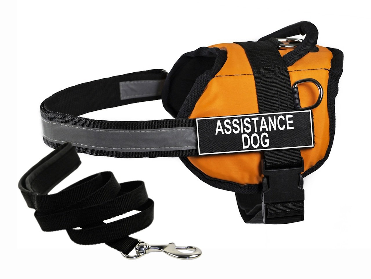 Dean & Tyler's DT Works orange ASSISTANCE DOG Harness with, X-Small, and Black 6 ft Padded Puppy Leash.