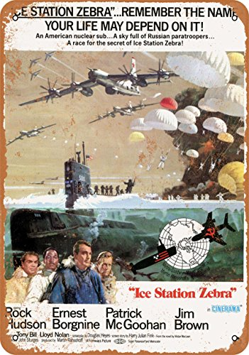Wall Zebra Metal (Wall-Color 7 x 10 METAL SIGN - 1968 Ice Station Zebra Rock Hudson - Vintage Look Reproduction)