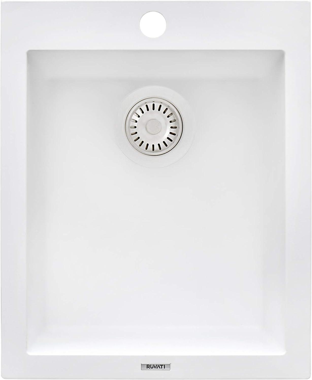 Ruvati 16 X 20 Inch Drop In Topmount Granite Composite Kitchen Sink Single Bowl Arctic White Rvg1016wh