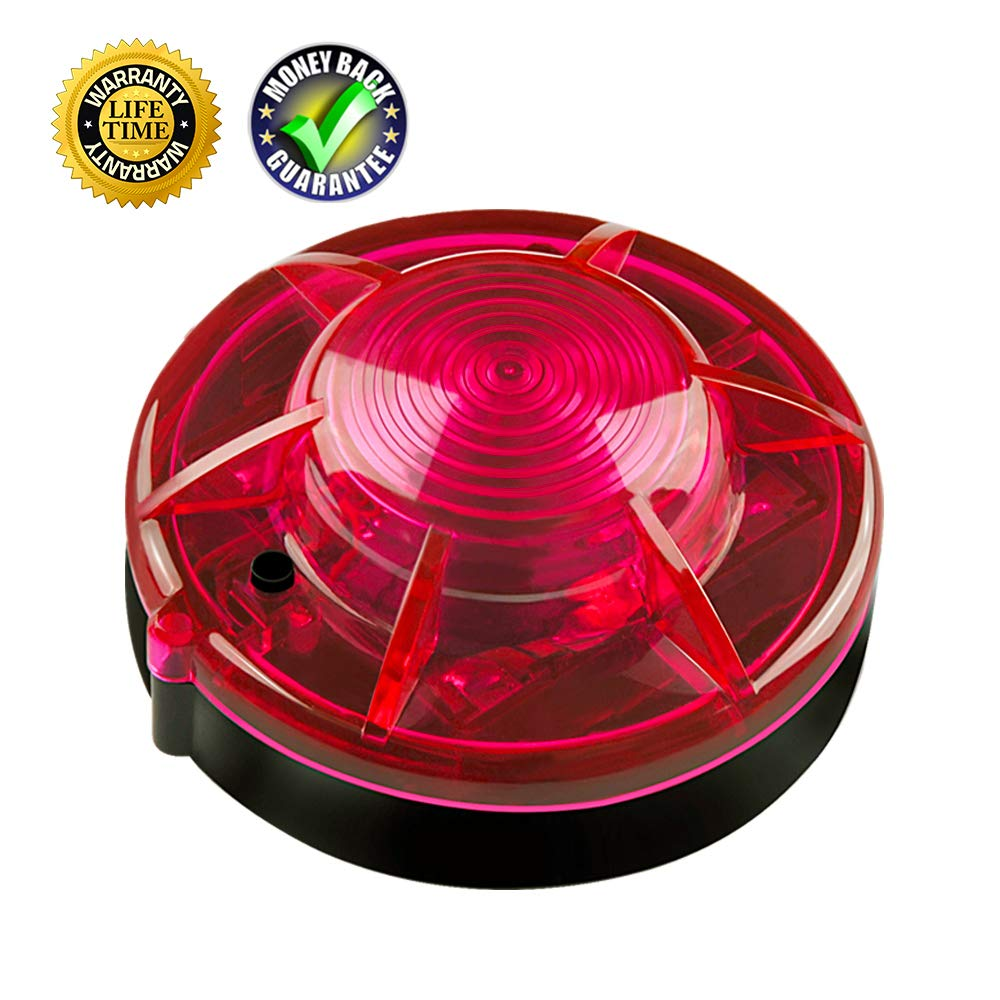 Rasse Car Outdoor LED Flashing Emergency Signal Warning Light, Road Flares Vehicle Light Beacon Super Magnetic Adsorption Prevent Accident Highlight Roadside Safety Emergency LED Lamp (Red )