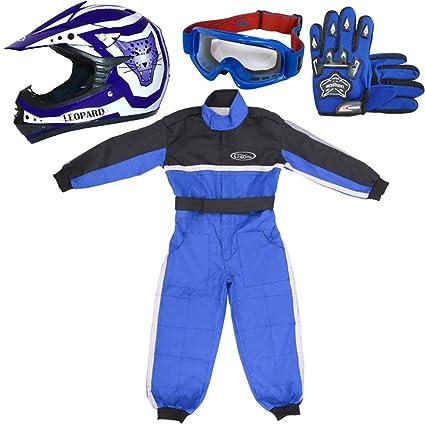 Leopard LEO-X17 Azul Casco de Motocross para Niños (L 53-54cm) + Gafas + Guantes (L 7cm) + Traje de Motocross para Niños - L (9-10 Años)