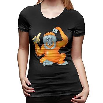 Cute Orangutan Banana Mujer Camiseta de Manga Corta Tees ...