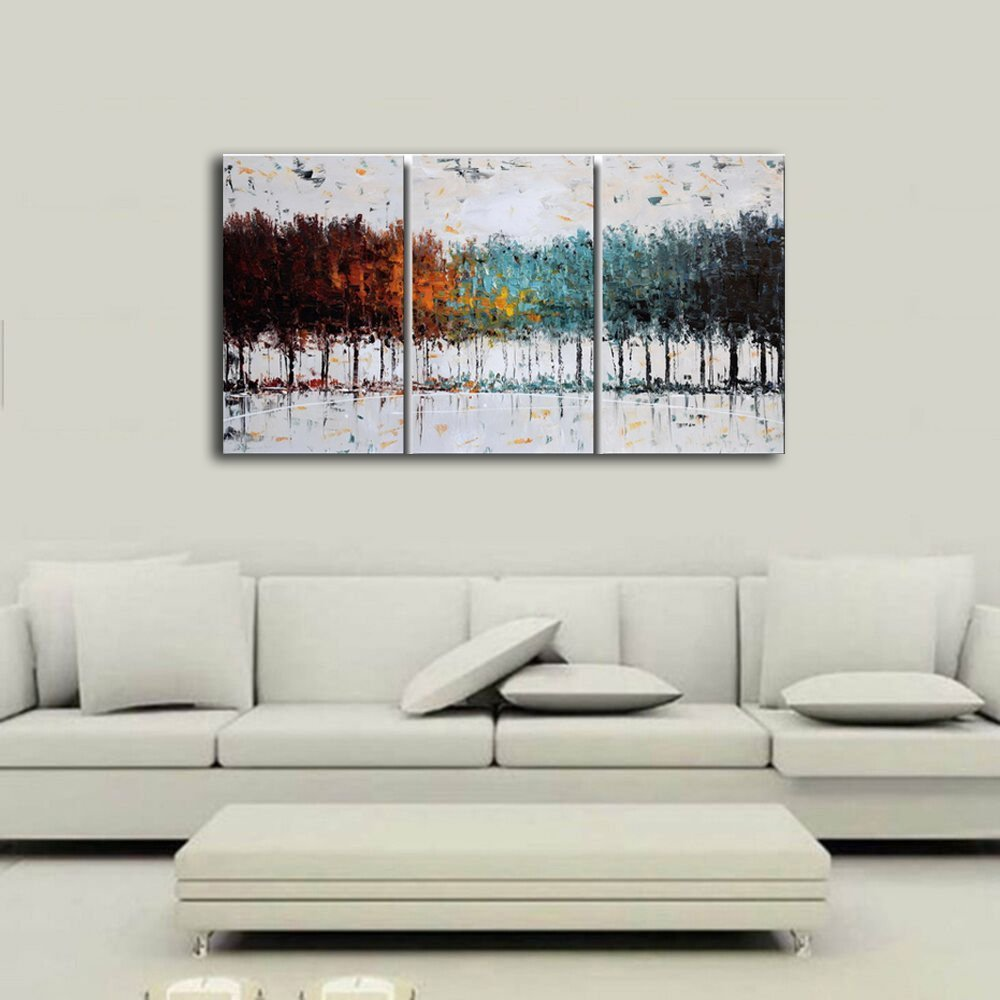 Amazon.com: Gardenia Art Colorful Forest Abstract Art 100% Hand ...