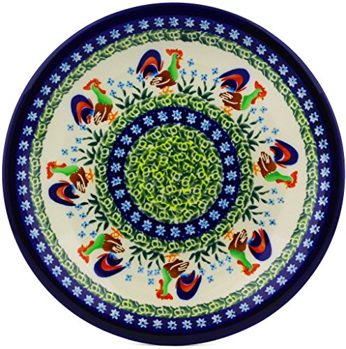 Polish Pottery Salad Plate 9½-inch (Country Rooster Theme) Signature UNIKAT