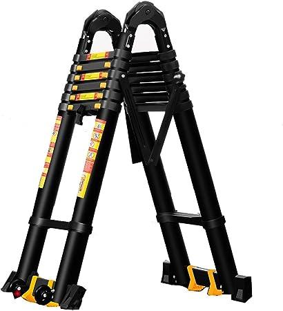 ALYR Aluminio Escalera Telescópica, Telescópica Escalera con estabilizador Escaleras de Mano Extensible 150 kg / 330lb Capacidad de Carga para el hogar,2.5m+2.5m=5m Straight Ladder: Amazon.es: Hogar