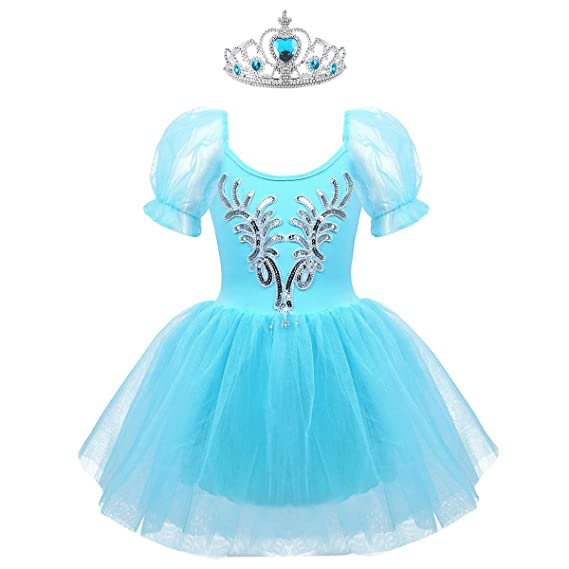 TiaoBug Girl Sequined Beads Swan Costume Ballet Dance Tutu Platter Performance Leotard Dress with Gloves Hair Clip Set