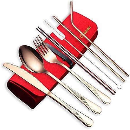 tableware-GQ Set de Cubiertos portátiles de Viaje para Utensilios de Cocina Juego de Cubiertos de Acero Inoxidable Incluye Cuchillo/Tenedor/Cuchara/Palillos/pajitas/Cepillo/Estuche portátil @ Dorado: Amazon.es: Hogar