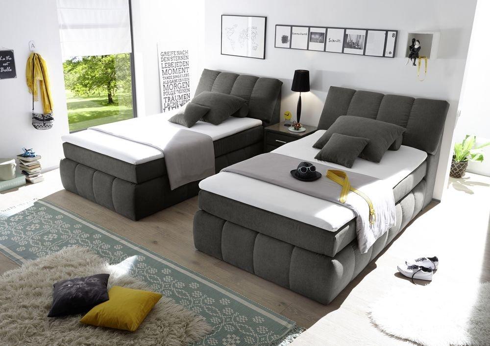 boxspringbett 120x200 mit bettkasten farbe anthrazit. Black Bedroom Furniture Sets. Home Design Ideas