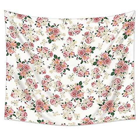 """Uphome Pink Rose Flower with Leaves Wall Tapestry Hanging – Light-weight Polyester Fabric Wall Decor (60""""H x 80""""W, - Floral Tapestry"""