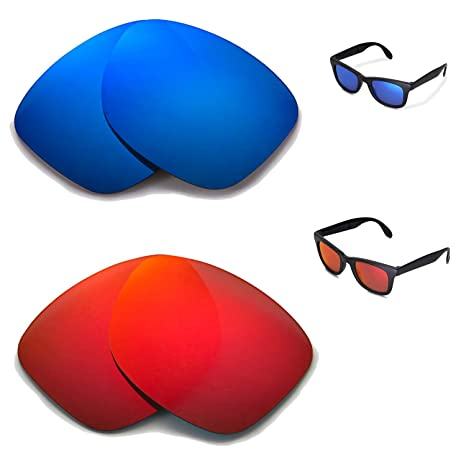 078af92de70 Amazon.com   Walleva Polarized Fire Red +Ice Blue Replacement Lenses for Ray -Ban Wayfarer RB4105 50mm Sunglasses   Sports   Outdoors