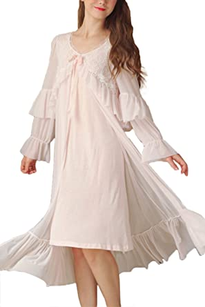 Asherbaby Women s Sleepwear Cotton Lace Victorian Long Sleeve Nightgown  Dress (Small 3bd2ee124