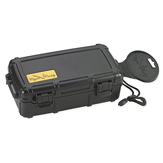 Cigar Caddy 3240 Travel Cigar Humidor, Holds 10 Cigars, Waterproof, Airtight Seal, Crush Proof, Coin Release for Air Pressure