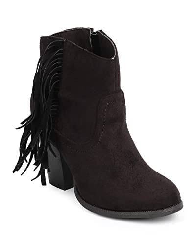 e20d978663c9 Liliana Women Suede Round Toe Fringe Zip Riding Ankle Boot DC24 - Black  (Size