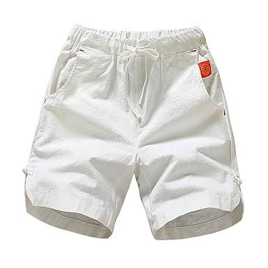 b170004cfc7ba GladiolusA Homme Shorts en Lin Bermudas Chino Pantacourt Pantalon Short De Plage  Décontracté Léger Confortable Respirant