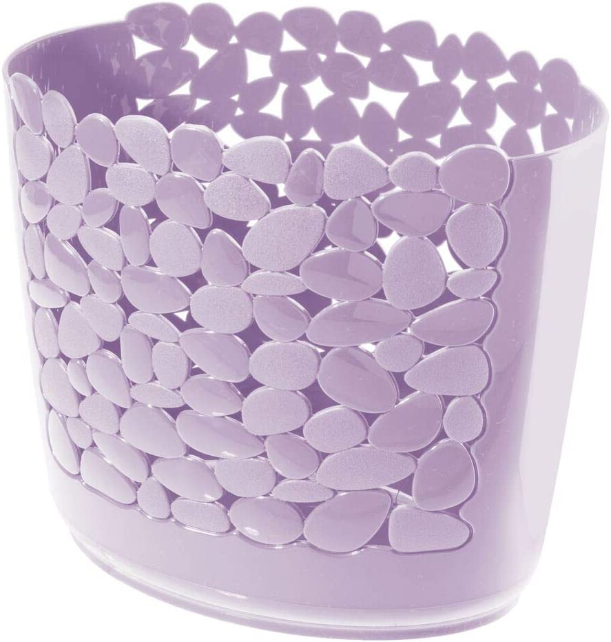 mDesign Decorative Oval Trash Can Wastebasket, Garbage Container Bin for Bathrooms, Powder Rooms, Kitchens, Home Offices - Pebble Design - Light Purple
