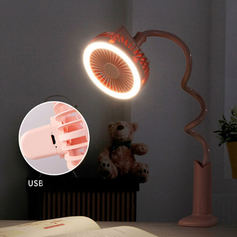 Adjustable Clip Fan with Night Light, Rechargeable Battery USB Mini Desktop Table Fan Flexible Neck Goose 360 Degree Personal Handheld Fan for Baby Stroller Home Dorm Office Travel (Pink, With Light)