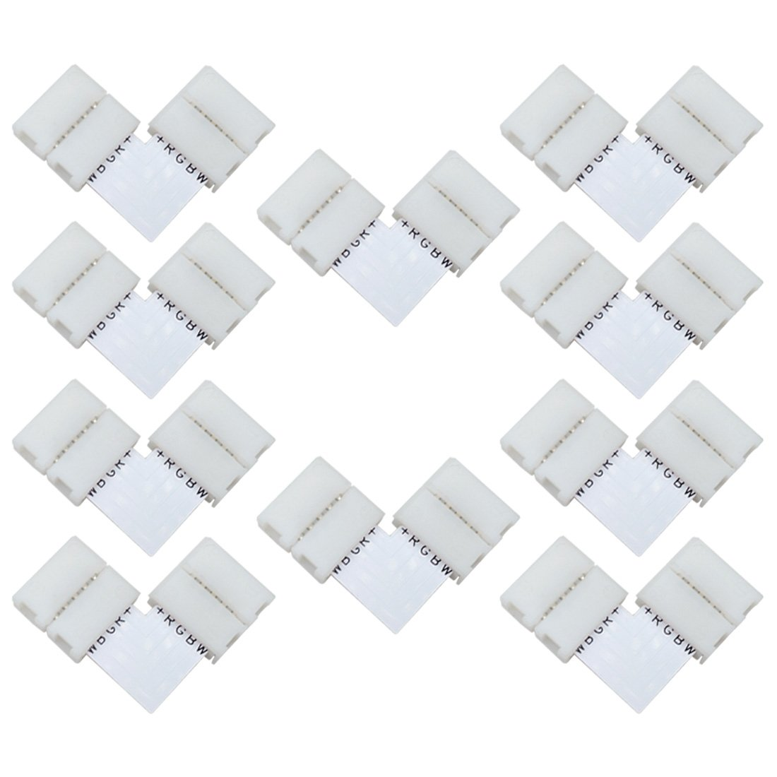 Liwinting 10pcs 5 pin L shape LED Connector Quick Splitter Right Angle Corner Connector for 12mm Wide SMD 5050 RGBW LED Strip Lights LED Ribbon Lights LED Strip to Strip Adapter, white (10pcs/pack) ULC 33
