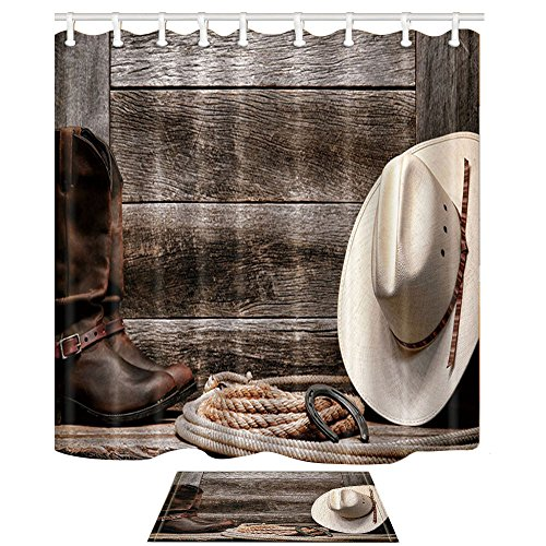 NYMB Western Decor, Cowboy Hat Boots and Rope Against Retro Wooden Board 69X70in Polyester Fabric Rustic Wood Shower Curtain Suit with 15.7x23.6in Flannel Non-Slip Floor Doormat Bath Rugs