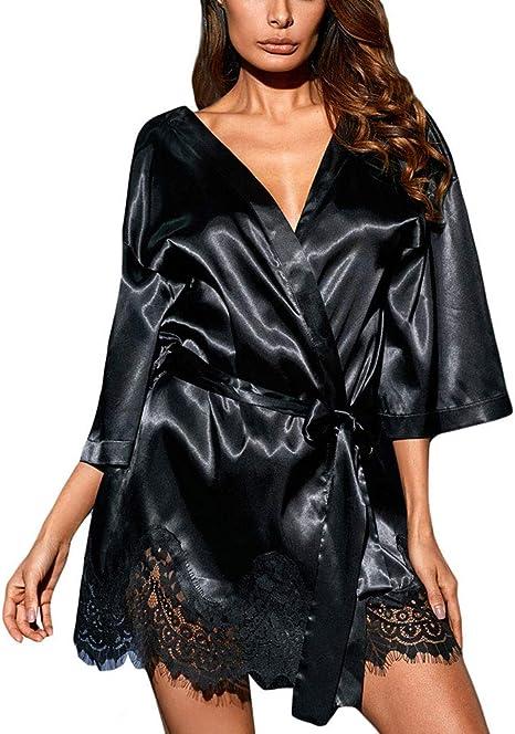 L//XL Kimono aus schwarzem Satin mit Spitze eingefasst von Provocative in S//M