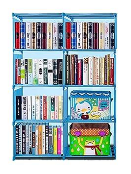 Qenci 4 Tire Bookshelf Storage Cube Closet Organizer Shelf 8 Cabinet Bookcase