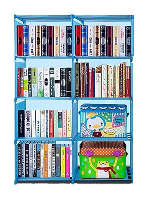 Hufcor 4 Shelf Portable Bookcase Storage Adjustable Space Saving Bookshelf 8 Cube Toy Rack