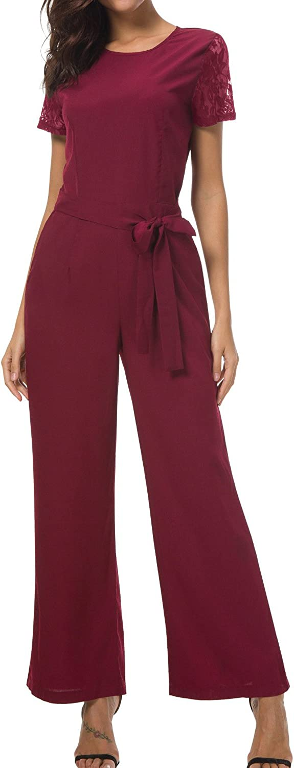 Vepodrau Women Romper Lace Patchwork Keyhole Hollow Out Belted Jumpsuits WineRed S