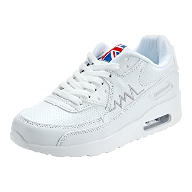 a7bbcf23f2740 PADGENE Femme Baskets Course Gym Fitness Sport Chaussures Air Blanc Taille  EU 36