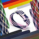 CIVO 20 mm Simple Design NATO Watch Strap Premium Nylon Perlon Braided Woven Watch Bands with Stainless Steel Buckle (Navy/Pink, 20mm)