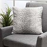 GDF Studio 299708 Ellison Silver Dusk Decorative Faux Fur Fabric Throw Pillow | Ideal for the Living Room Or Bedroom | Plush Texture