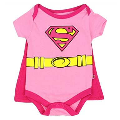 4d55ad10a DC Comics Supergirl WB Supergirl Girls 0-9 Month Infant Creeper With Cape (0