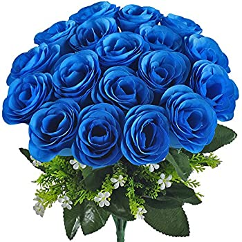 flowers on dining table amazoncom silk rose blue 10 heads soledi artificial flower