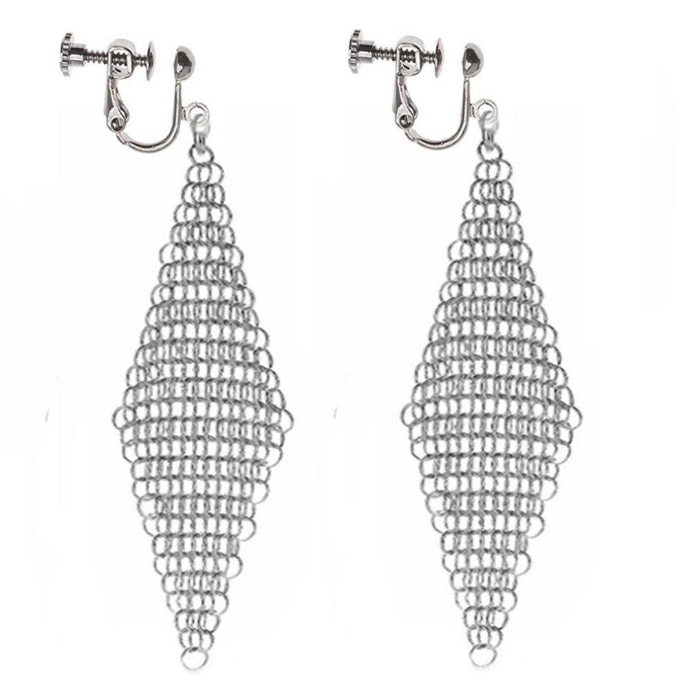 Clip On Earrings Hollow Geometric Earrings Dangle No Piercing Silver-tone Plated Proms