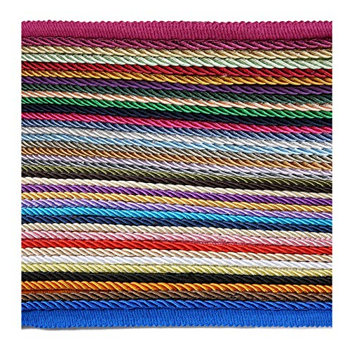 6mm Silky Barley Twist Cord & 16mm Flanged Insertion Piping Upholstery Crafts Trimming, 36 Colors. High Strength, Durable & Versatile. Neotrims