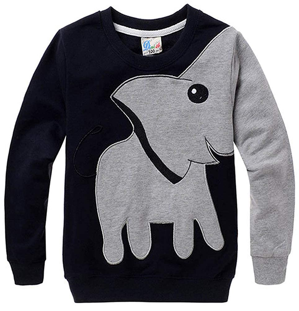 Boys Sweatshirt Cotton Top for Kids Elephant Jumper Casual Pullover Long Sleeve T Shirt Toddler Clothes Autumn Winter 2-7 Years