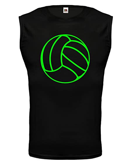 Tank Top Volleyball Ball-S-black-neongreen
