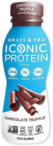 Iconic Protein Drinks, Chocolate Truffle (12 Pack) | Low Carb Protein Shakes | Grass Fed, Lactose Free, Gluten Free, Non-GMO,