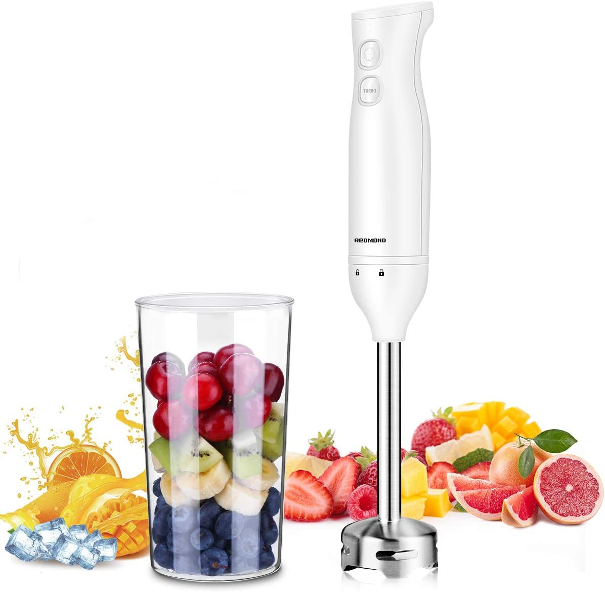 REDMOND Immersion Blender, 2-in-1 Hand Blender Includes 750ml BPA-Free Beaker, 304 Robust Stainless Steel Stick, Ergonomically Handle Designed Handheld Blender for Baby Food, Juices, Sauces and Soup, HB001