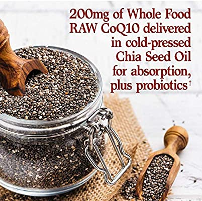 Garden of Life Vegetarian Omega 3 6 9 Supplement - Raw CoQ10 Chia Seed Oil Whole Food Nutrition with Antioxidant Support, 60 Capsules