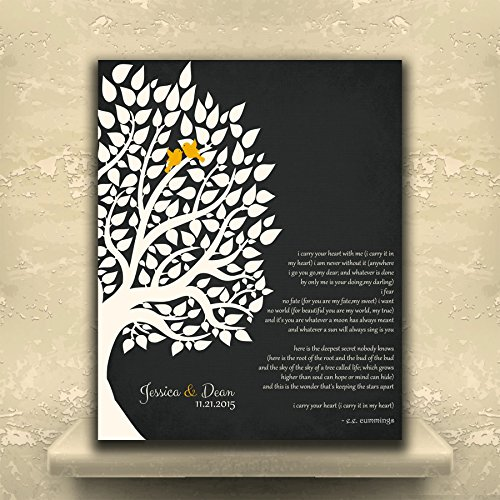 9.5 X 12 Metal Print E.E. Cummings Personalized Gift For Anniversary 1st Paper Gift For Couple Family Wedding Poem Tree Gift For Mom and Dad Custom Art Print 10th Tin Aluminum (What Is The 35 Year Anniversary Gift)