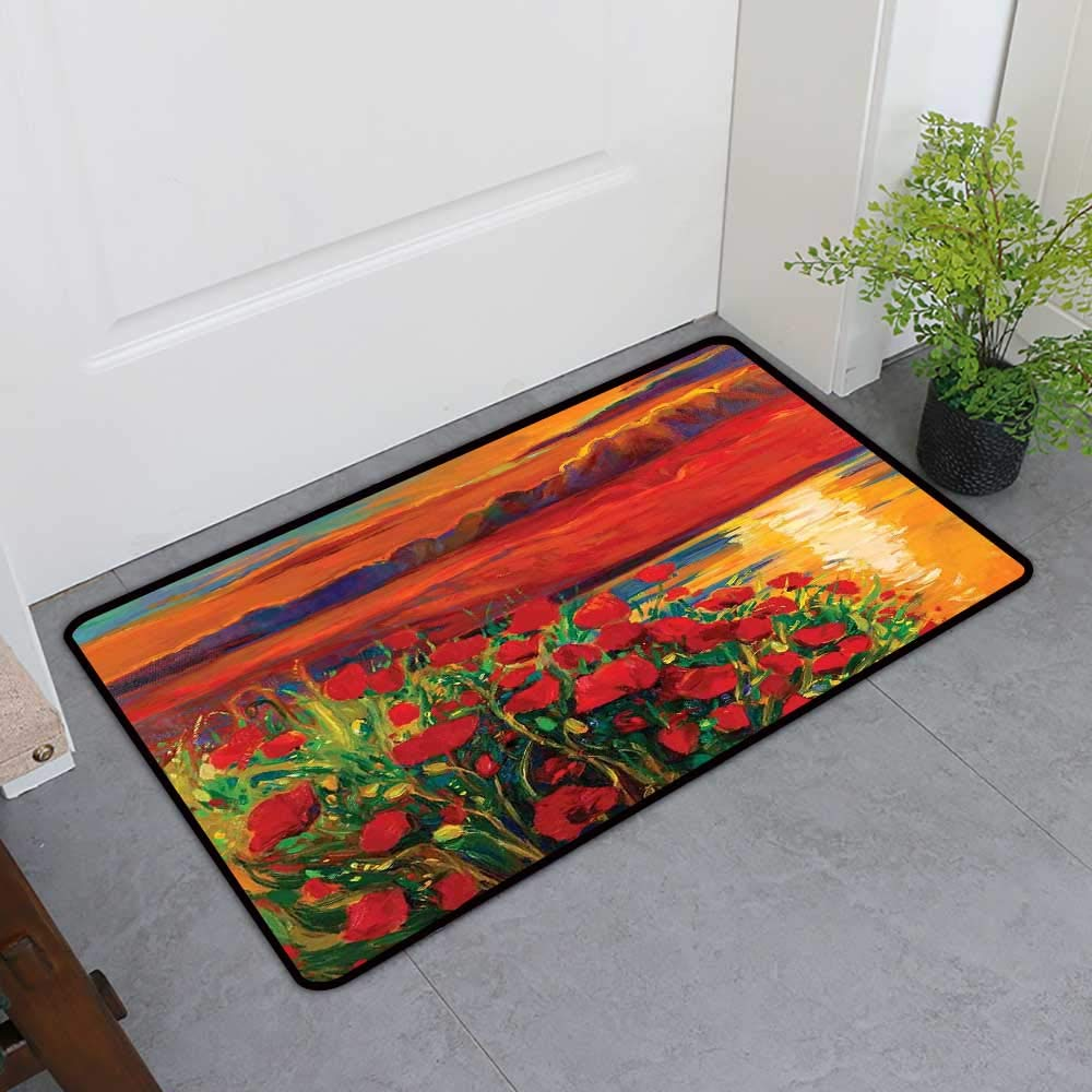 TableCovers&Home Commercial Grade Entrance Mat, Flower Decorative Imdoor Rugs for Kids Room, Oil Painting View Stone Stairs in The Greek Garden Greenery Forest Picture (Orange Red Green, H36 x W60)