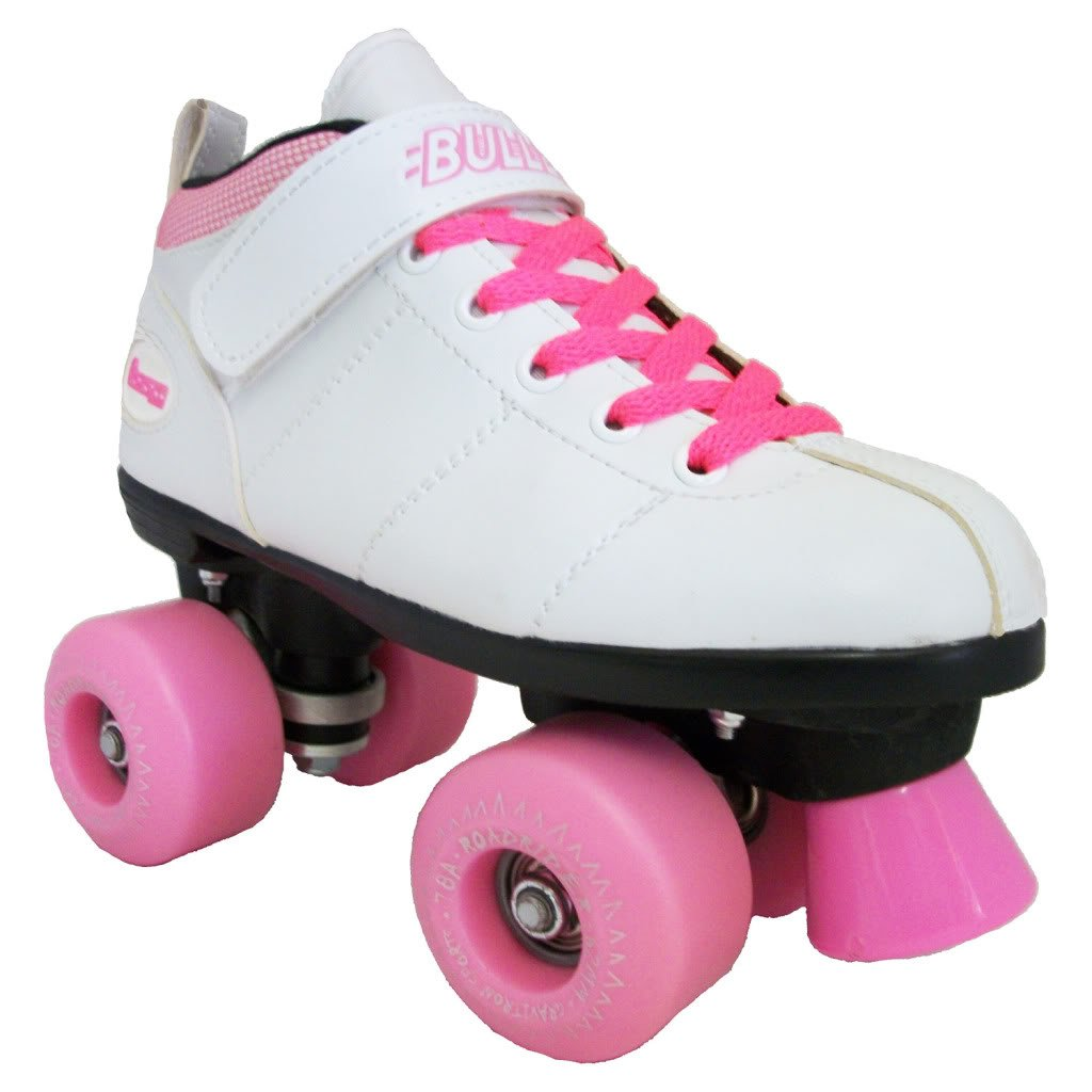 Chicago Bullet Outdoor Speed Skates - White Quad Skates Pink Wheels by Chicago