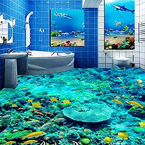 Lqwx Pesce Wc Photo Piano 3dwallpaper Il Pavimento Del Bagno Murale